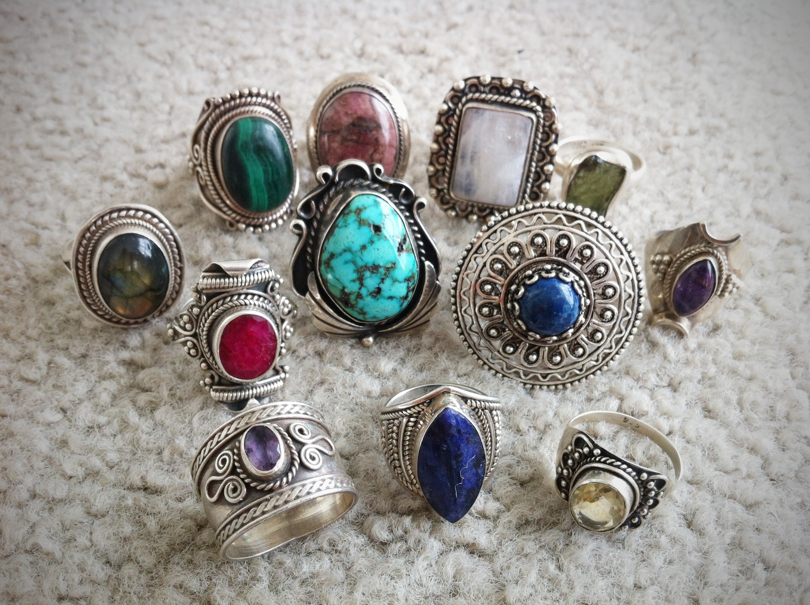 Crystal healing gemstone jewelry collection holistic habits i love collecting sterling silver gemstone jewelry i especially love collecting beautiful bold vintage rings i get so excited when i glance down at mozeypictures Gallery
